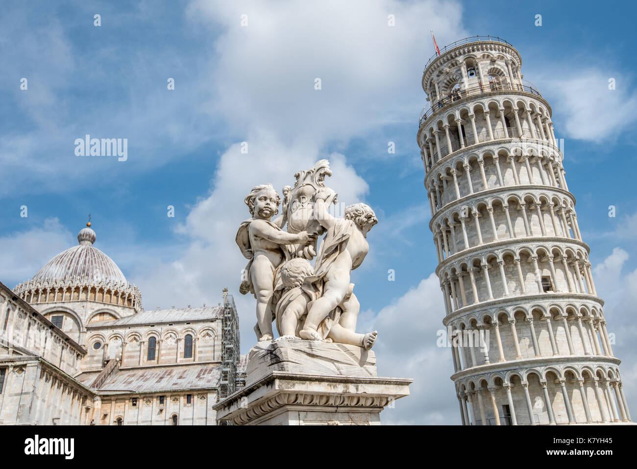 The world famous Piazza dei Miracoli in Pisa, Tuscany.  The construction of the cathedral was began in 1064. Stock Photo