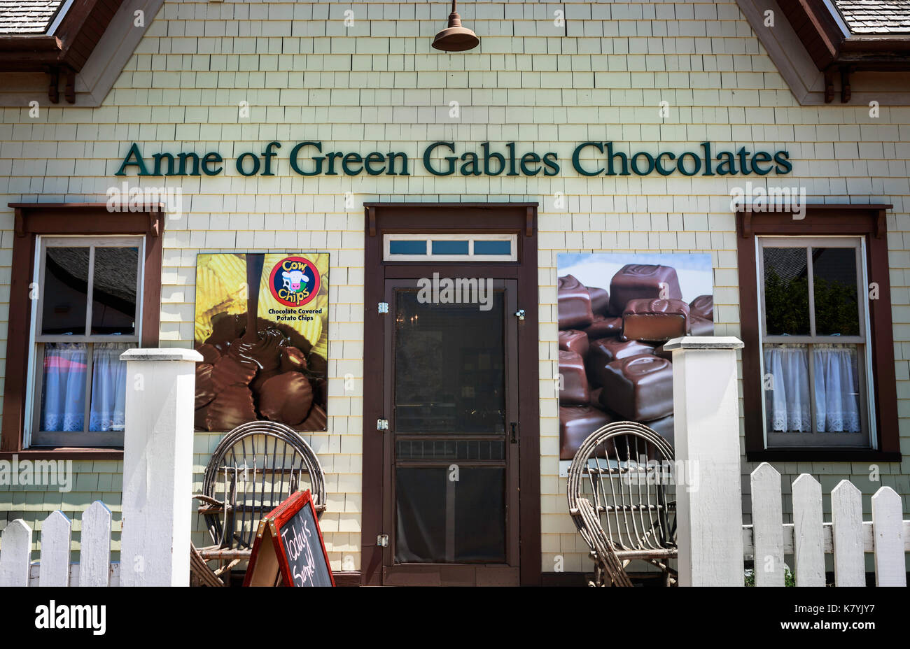 Anne of Green Gables Chocolates Store in Avonlea, PEI, Canada. 'Anne' novels were made famous in the early 1900s by fiction writer L.M. Montgomery - Stock Image