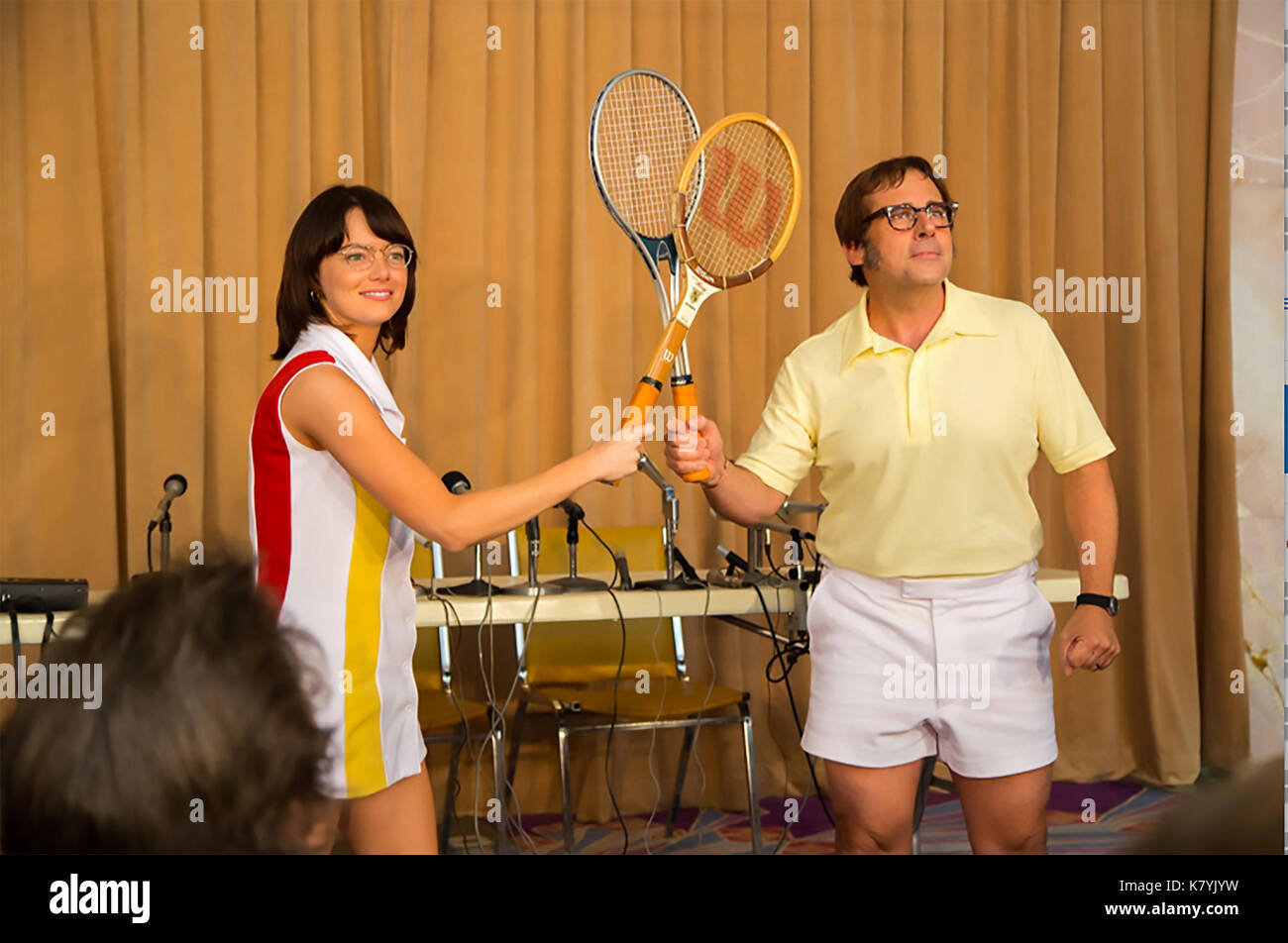 BATTLE OF THE SEXES 2017 Fox Searchlight film with Emma Stone and Steve Carell - Stock Image
