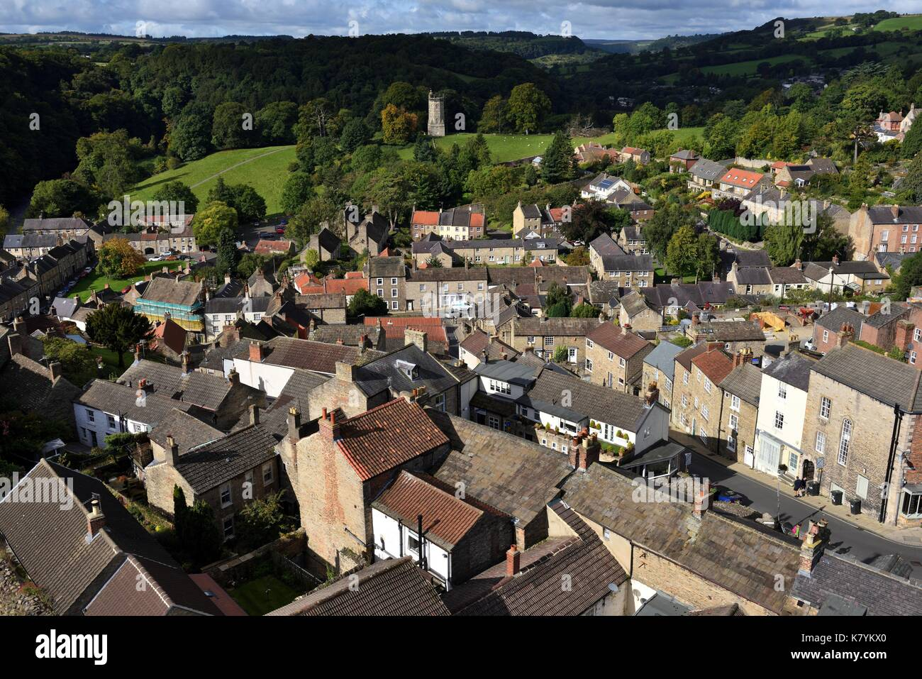 Richmond Yorkshire, seen from above - Stock Image