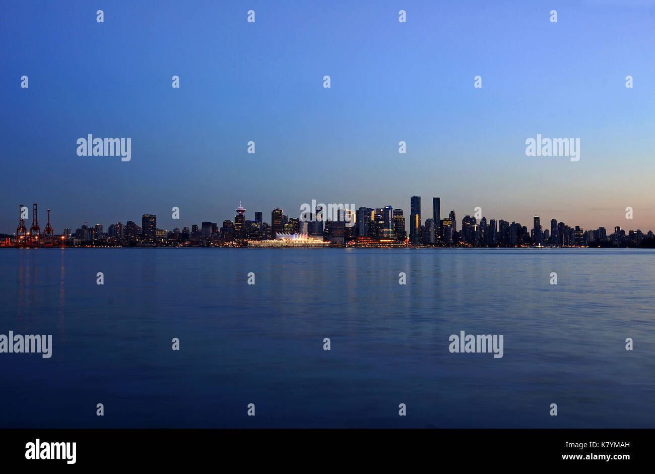 Evening view on downtown Vancouver  seen from the North shore - Stock Image