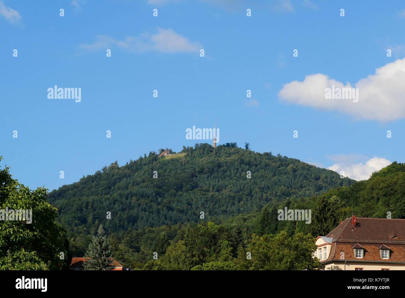 Blick auf den Berg Merkur in Baden-Baden - Stock Image