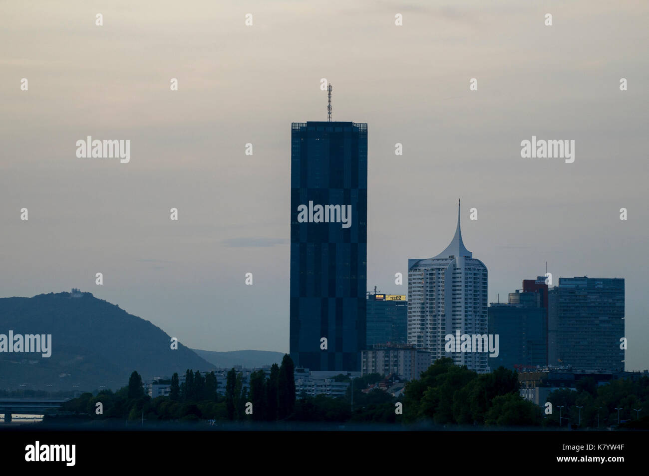 220 meter DC Tower 1 and 150 meter Hochhaus Neue Donau in Donau City of Wien, Austria. 24 August 2017 © Wojciech Strozyk / Alamy Stock Photo - Stock Image