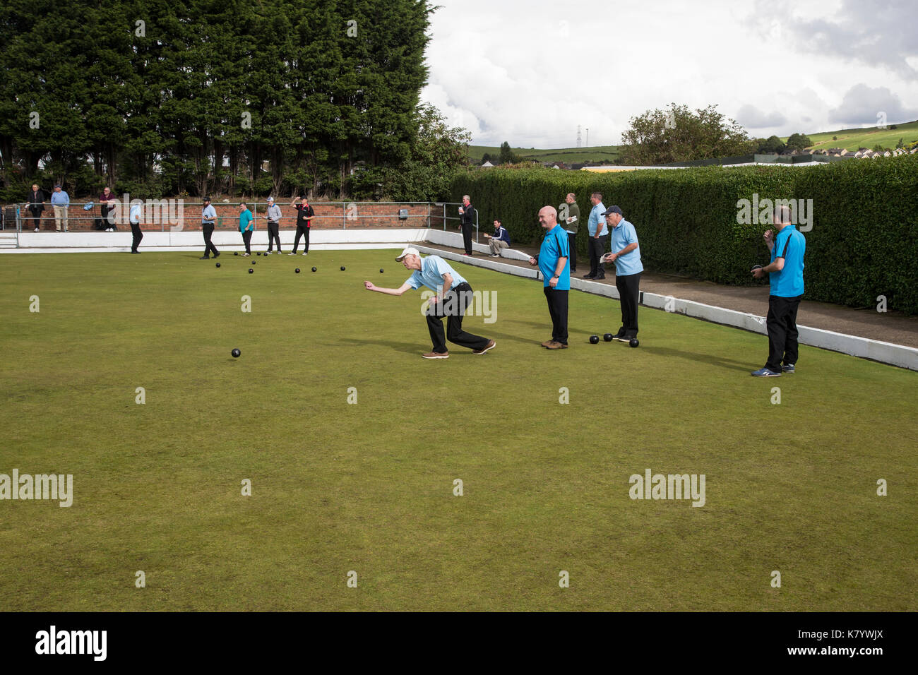 Crown Green Bowling championship in Huddersfield, West Yorkshire U.K. - Stock Image