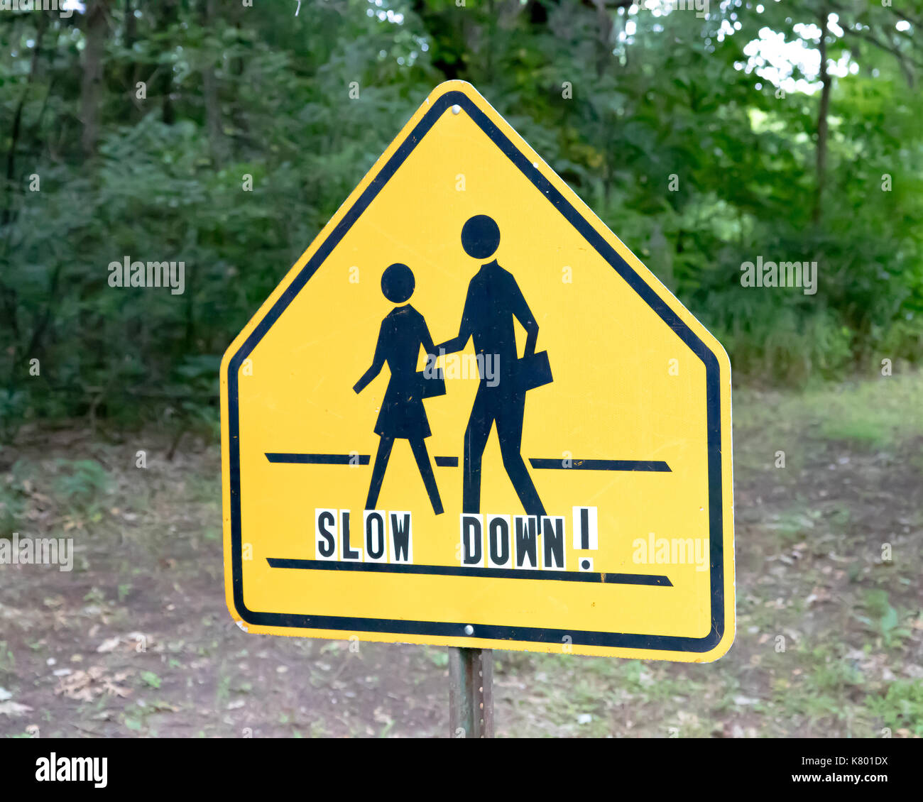 School crossing sign with slow down lettering - Stock Image