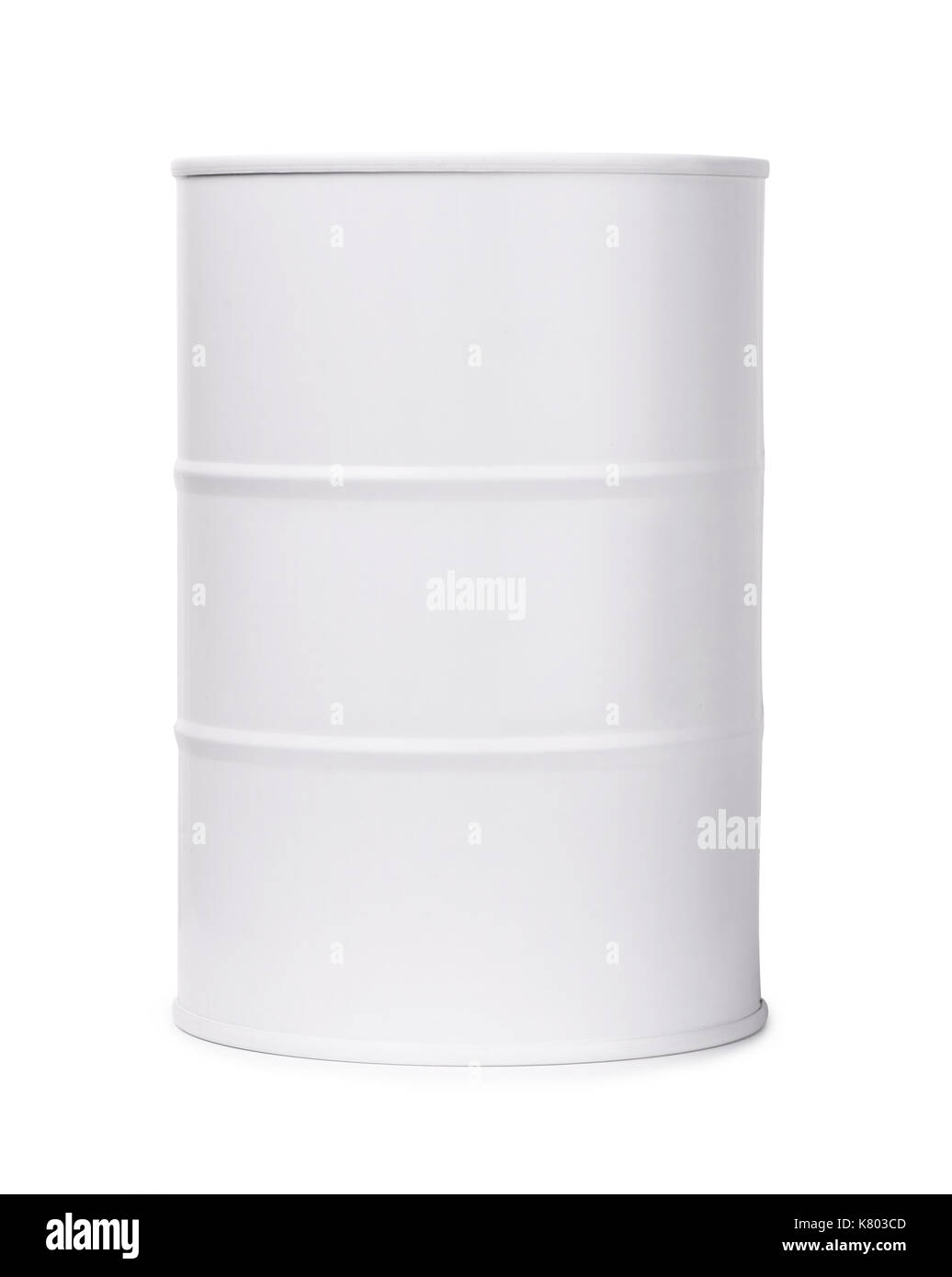 White barrel of fuel or chemicals isolated on a white background - Stock Image