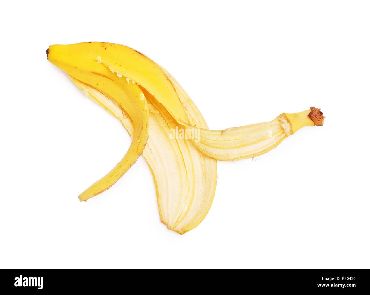 Banana peel isolated on white background - Stock Image