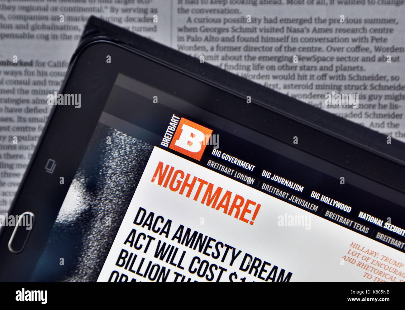 Breitbart News website displayed on a tablet device, London - Stock Image
