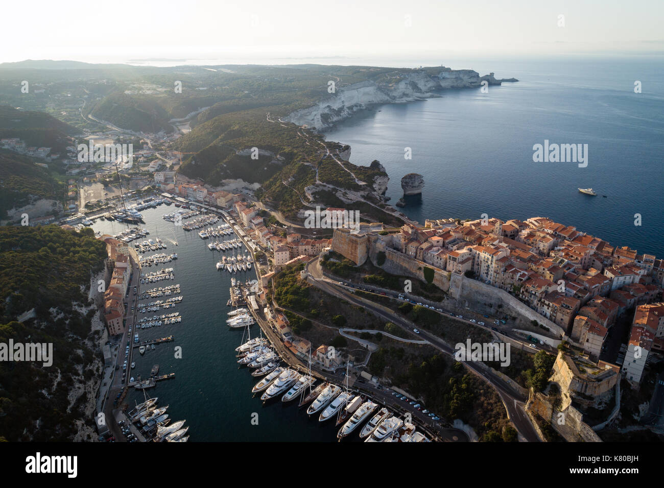 Aerial view of boats and yachts in marina of historical city Bonifacio, Corsica, France - Stock Image