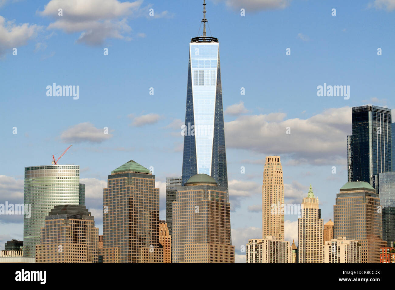 Freedom Tower and Lower Manhattan as viewed from Liberty State Park, Jersey City, New Jersey, USA - Stock Image