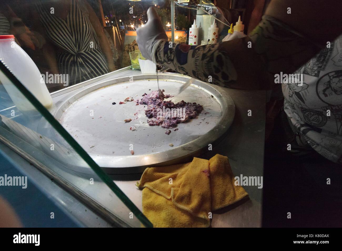 Ice cream rolls being made in Kas, Turkey - Stock Image