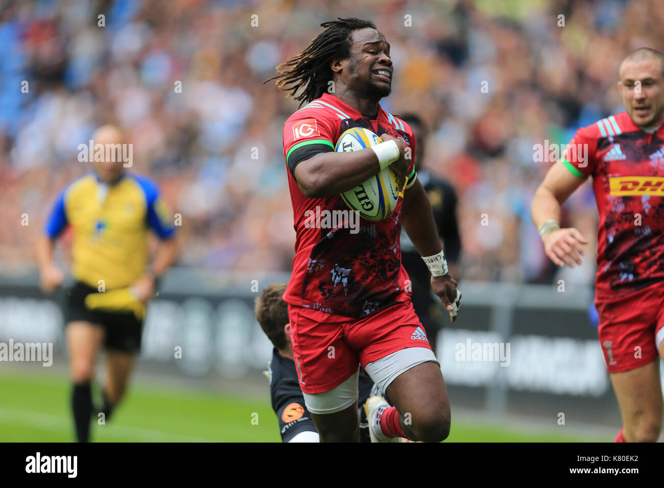 Harlequins Marland Yarde score TRY for wasps during the Aviva Premiership Rugby match between Wasps RFC v Harlequins F.C on Sunday 17th September 2017 - Stock Image