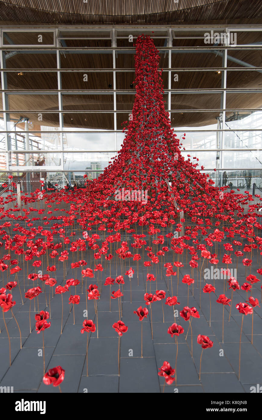 The Weeping Window installation at the Senedd - Stock Image