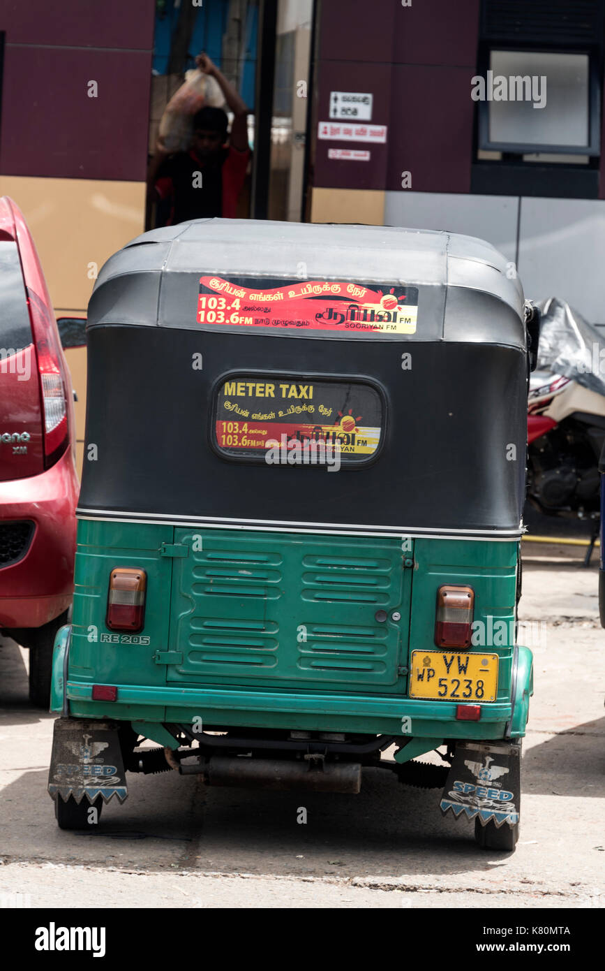 A metered tuk tuk three wheeler taxi in colombo sri lanka