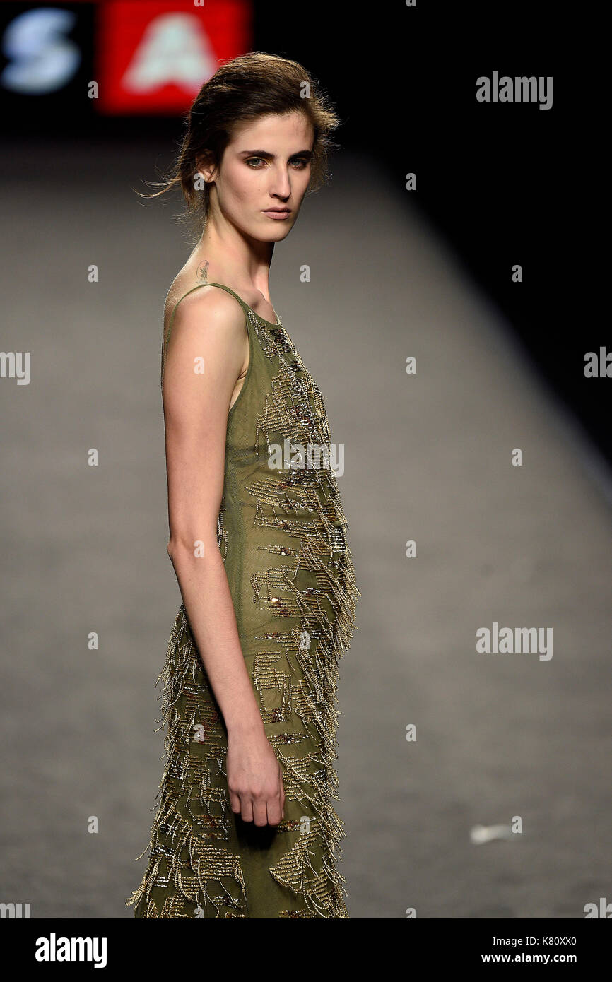 Models Wears At Collection Runway A Creation From Teresa Helbig During Pasarela Cibeles Mercedes Benz Fashion Week Madrid 2017 In