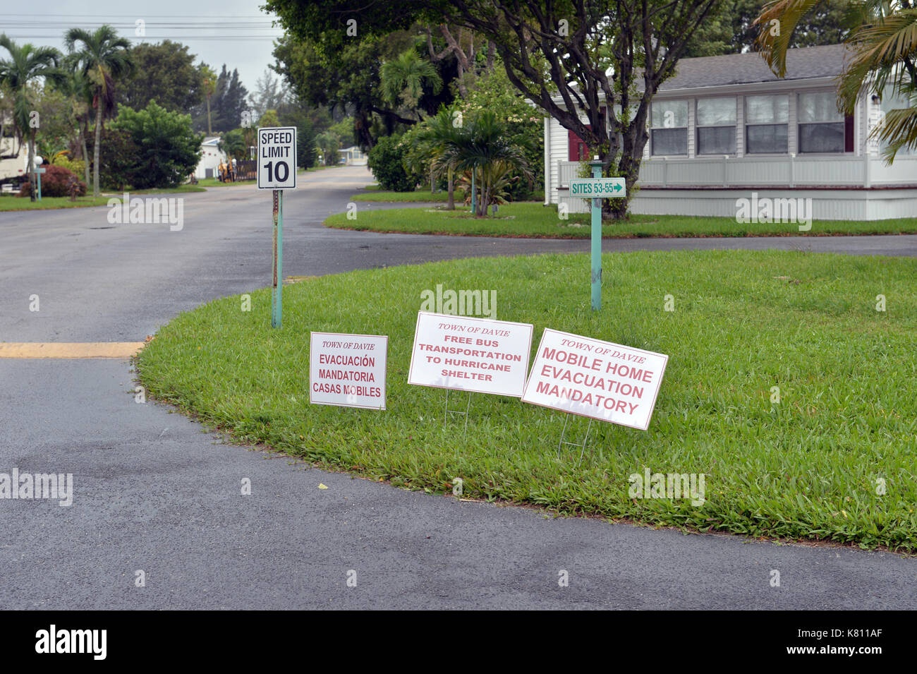 NEW YORK DALLIES OUT DAVIE, FL - SEPTEMBER 09: (EXCLUSIVE COVERAGE) Effects of Extreme Category 5 Hurricane Irma start to hit Florida, Which Is The largest Storm In US History. Mandatory Curfews are being issued across South Florida as the region clears roads ahead of Hurricane Irma: 7 p.m. in Key Biscayne, 8 p.m. in North Miami Beach, 4 p.m. in Broward County, 7 p.m. in the city of Miami and 8 p.m. in Miami Beach. Key Biscayne issued a curfew starting 7 p.m. through 7 a.m. The first death in Florida was a Davie man who fell off his ladder putting up shutters on September 9, 2017 in Fort La - Stock Image