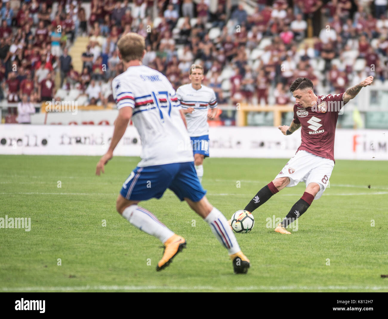 Duvàn Zapata celebrates during the serie a match Torino vs Sampdoria - Stock Image