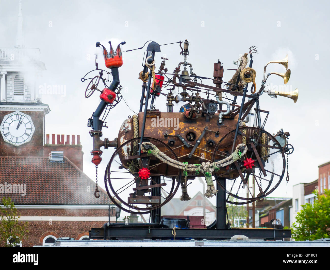 The Stockton Flyer automaton sculpture based on Stephensons Locomotion designed by Rob Higgs has bells whistles and blows steam daily at 1:00 p.m. - Stock Image