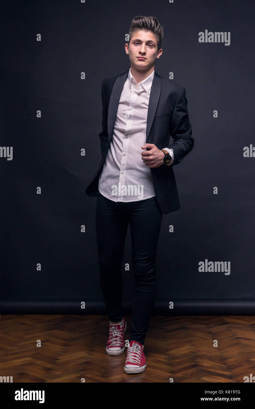 One Young Teenage Boy Black Background Studio Posing Suit Formal Stock Photo Alamy