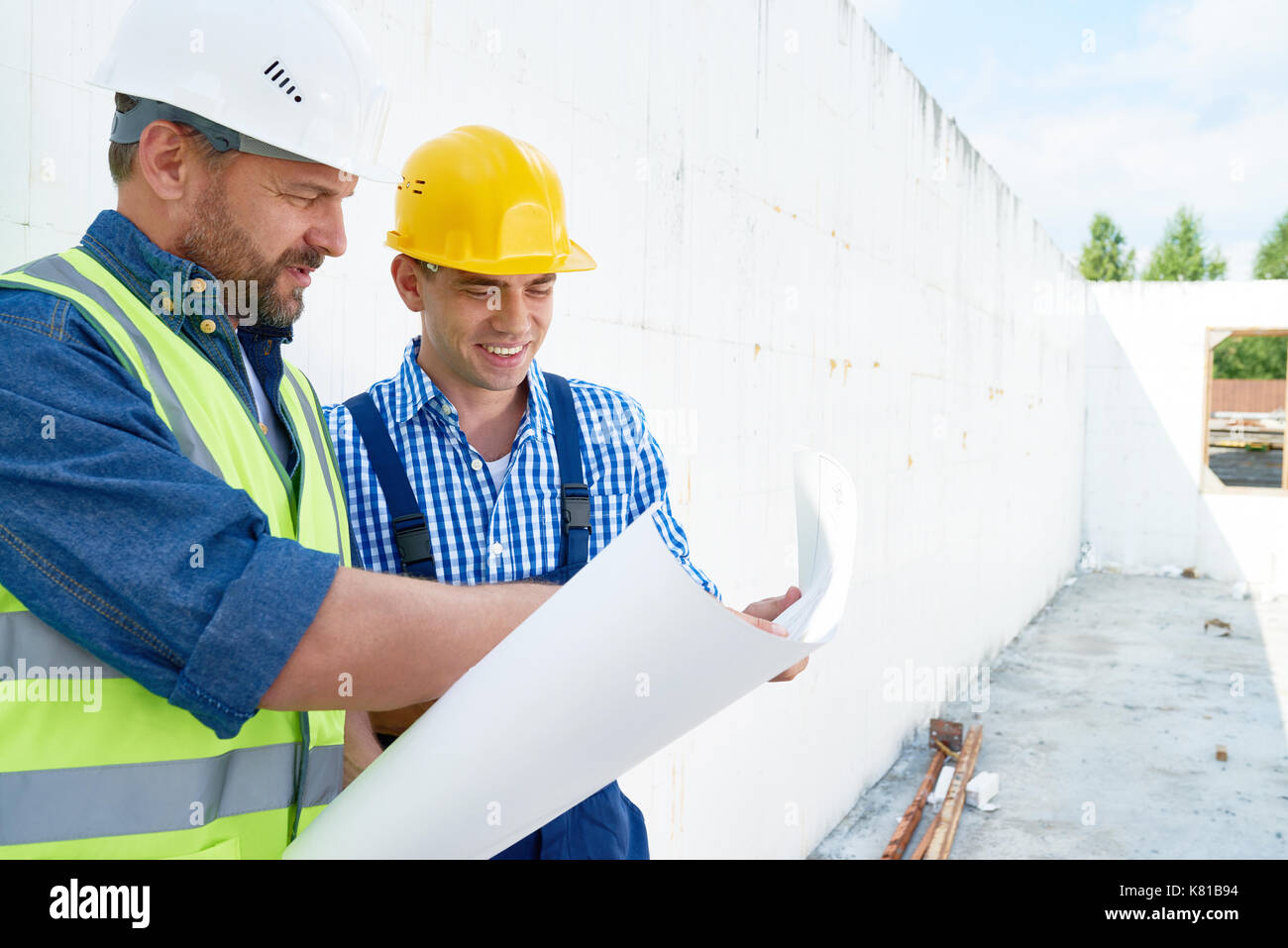 Productive Discussion of Blueprint - Stock Image