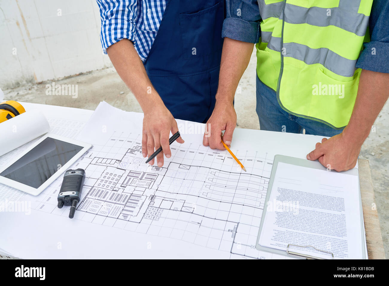 Working Meeting at Construction Site - Stock Image