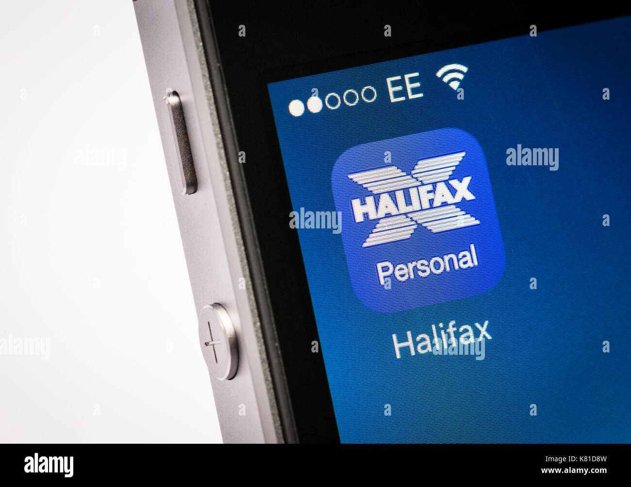 Halifax mobile banking app on an iPhone mobile phone - Stock Image