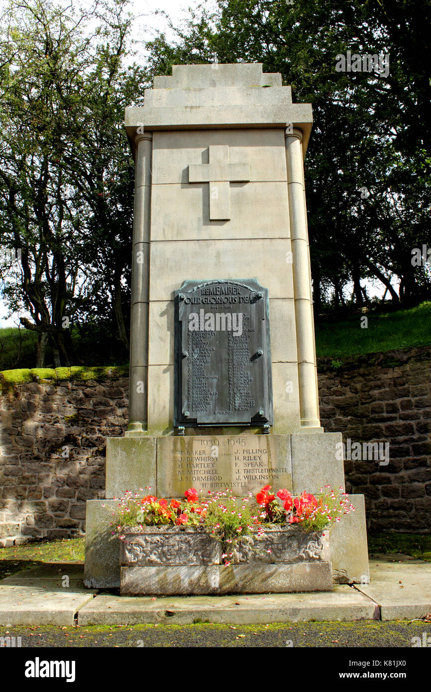 Upright view of War Memorial Trawden Lancashire - Stock Image