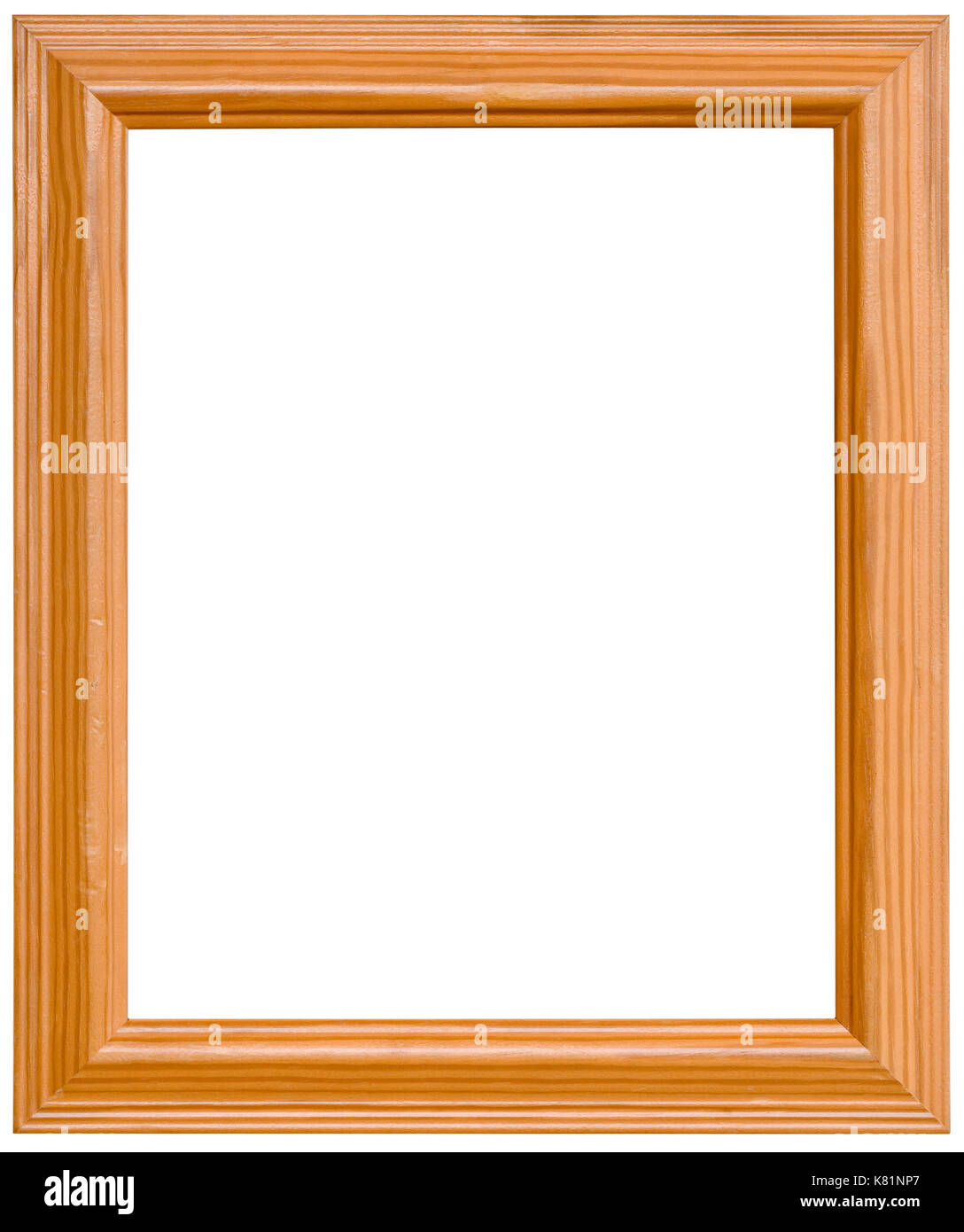 Simple Pine Wooden Picture Frame Cutout   Stock Image