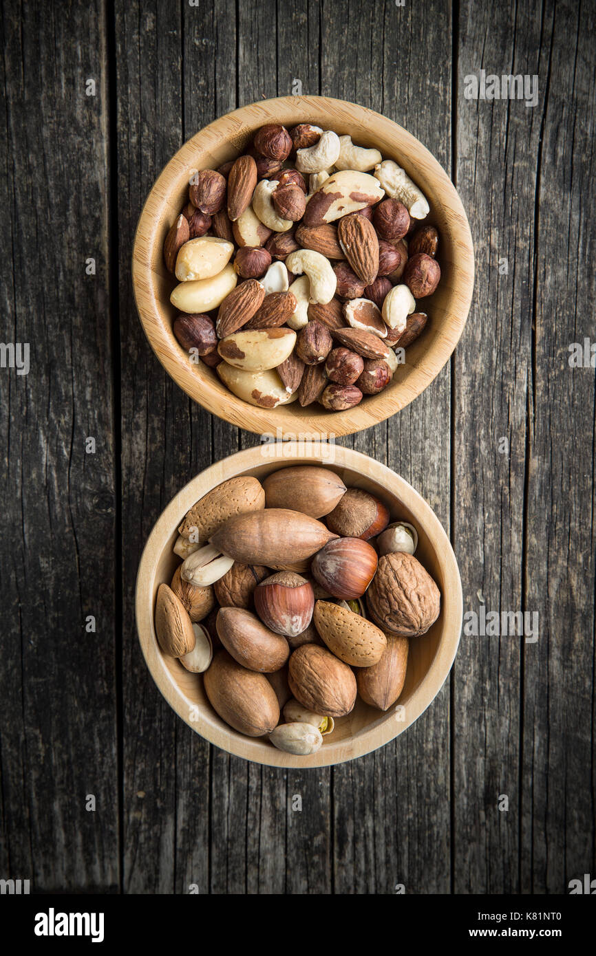 Different types of nuts. Hazelnuts, walnuts, almonds, brazil nuts and pistachio nuts in wooden bowl. - Stock Image