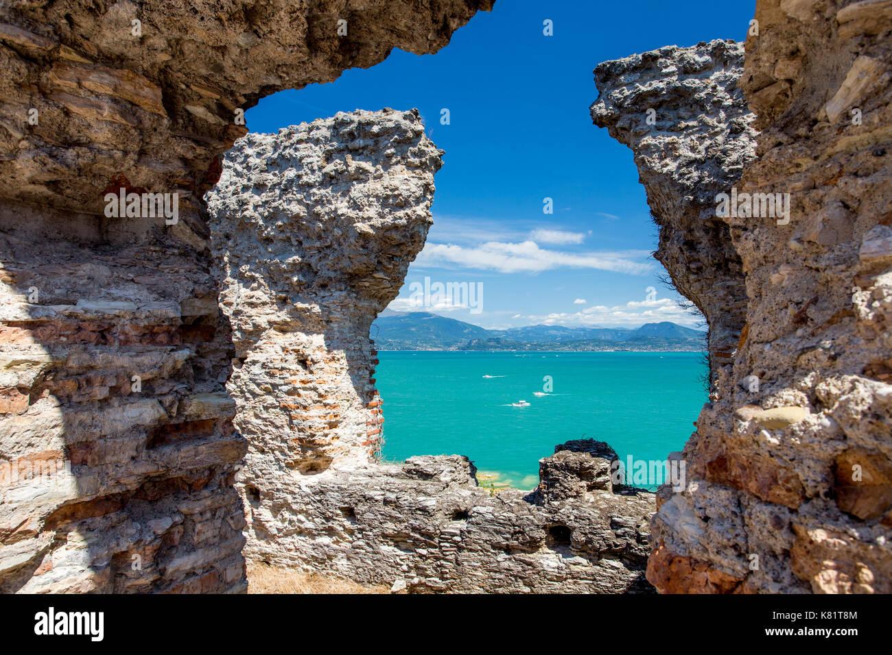 Grotte di Catullo Roman villa archeological site on Sirmione, Lake Garda, Italy Stock Photo