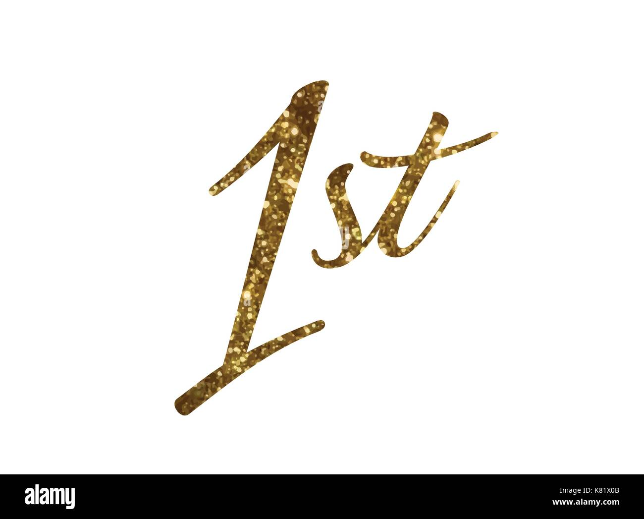 The Golden glitter of isolated hand writing word first - Stock Vector