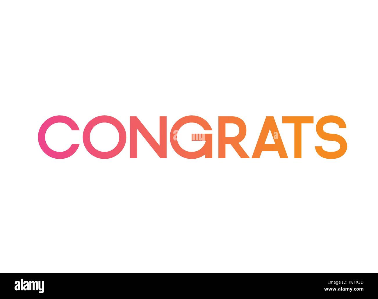 the gradient pink to orange isolated standard font word congrats