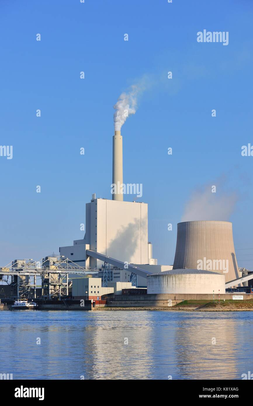 Coal-fired power station, EnBW power plant, Karlsruhe, Baden-Württemberg, Germany - Stock Image