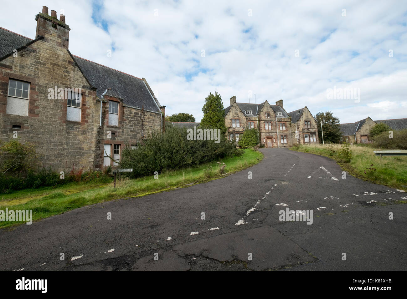 The grounds of the former Bangour Village hospital, Dechmont, West Lothian, Scotland which closed in 2004. - Stock Image