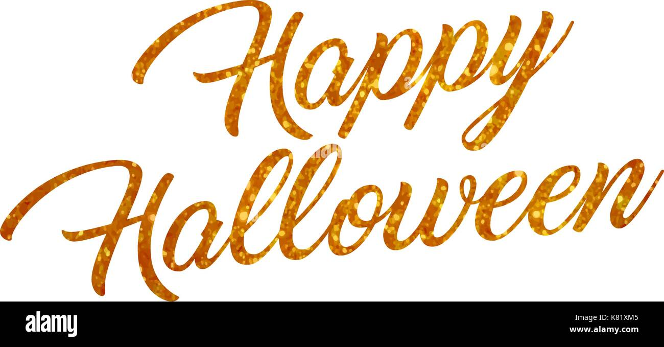 The orange glitter isolated hand writing word HAPPY HALLOWEEN on white blackground Stock Vector