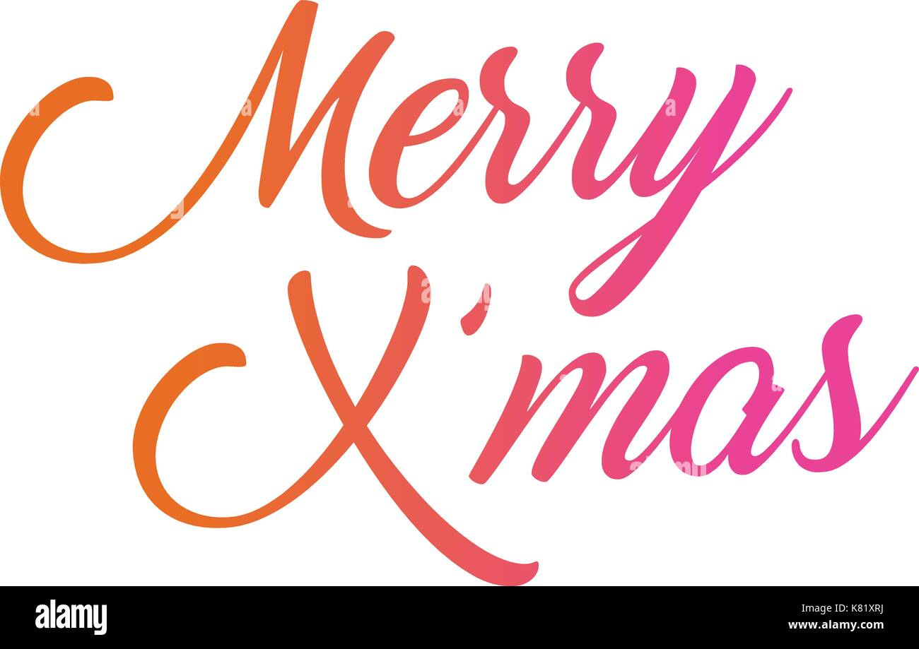 Merry Christmas Writing.The Colorful Gradient Isolated Hand Writing Word Merry