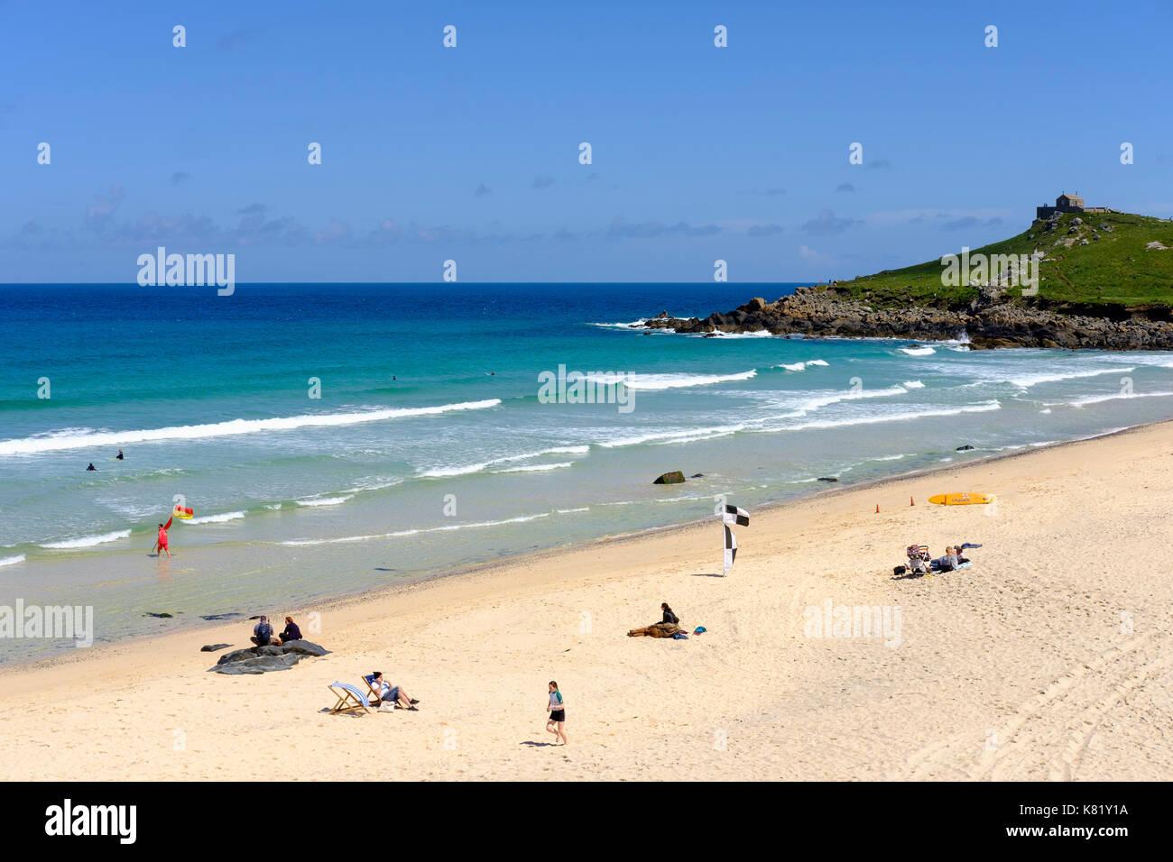 Porthmeor Beach, St Ives, Cornwall, England, Great Britain Stock Photo