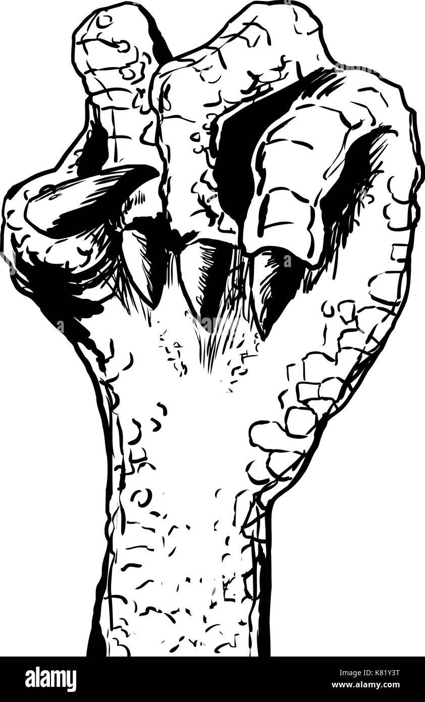 Outlined sketch of close up for clenched scaly lizard hand over white background - Stock Image