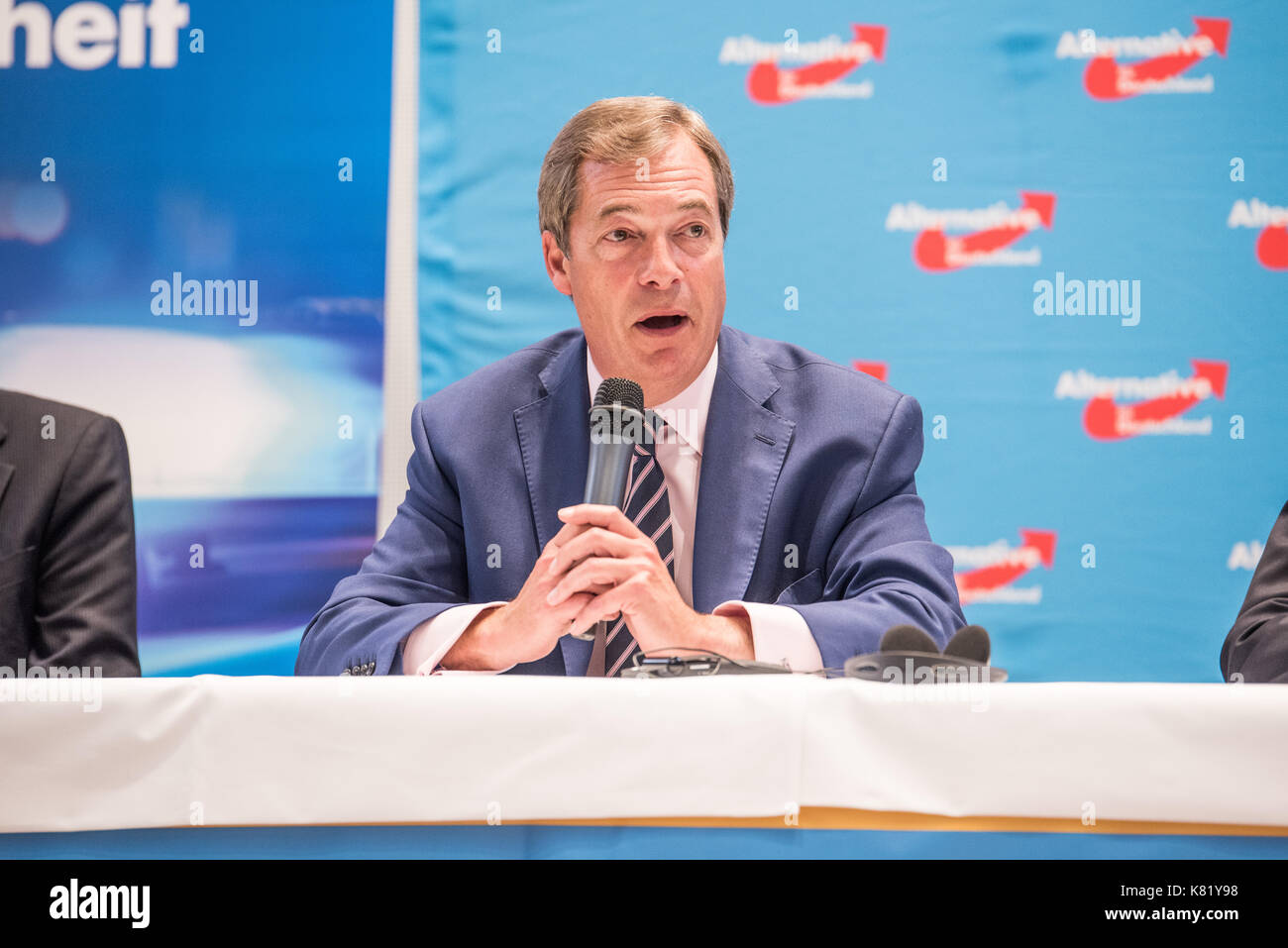 Nigel Farage speaking at an AfD press conference in September 2017 with Beatrix von Storch (not in the photo) - Stock Image