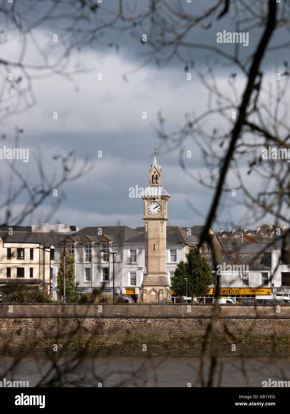 Prince Albert Memorial Clock, in Barnstaple, Devon, UK, viewed from across the River Taw - Stock Image
