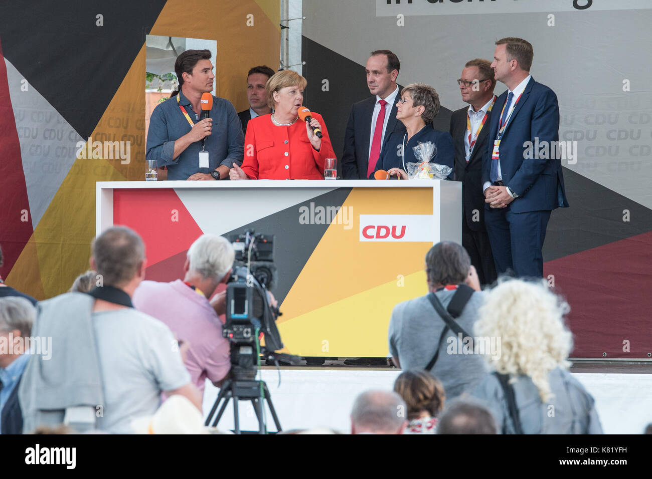 Merkel at an Election event in Brandenburg in Germany in August 2017 - Stock Image