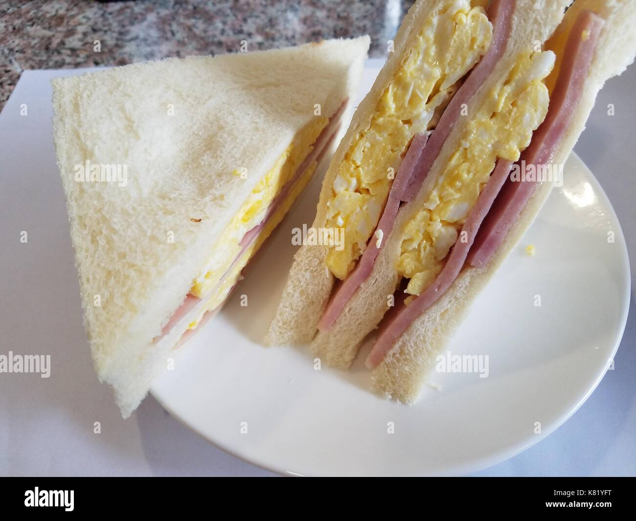 Delicious Cantonese style egg and ham sandwich, ate at Los Angeles, California, U.S.a. - Stock Image