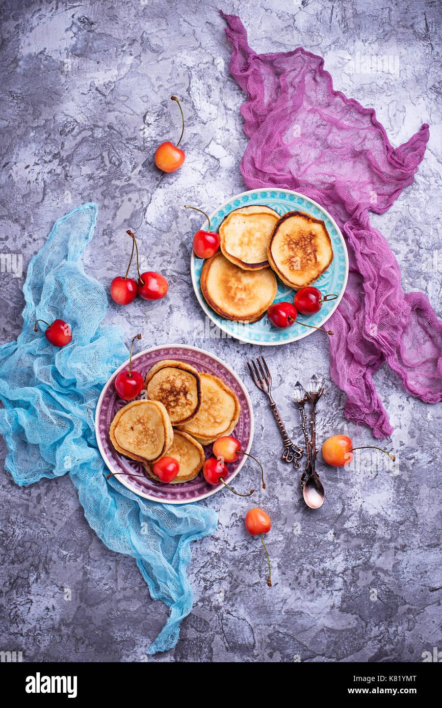 Pancakes with cherry  - Stock Image