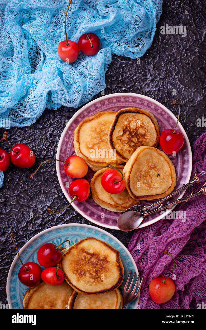 Pancakes with cherry  - Stock Image