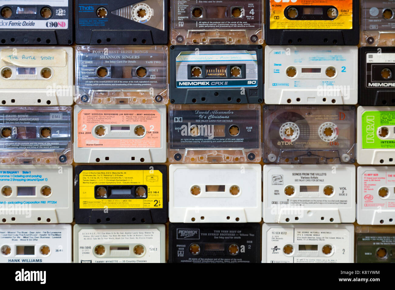 Background of old retro cassette tapes - Stock Image