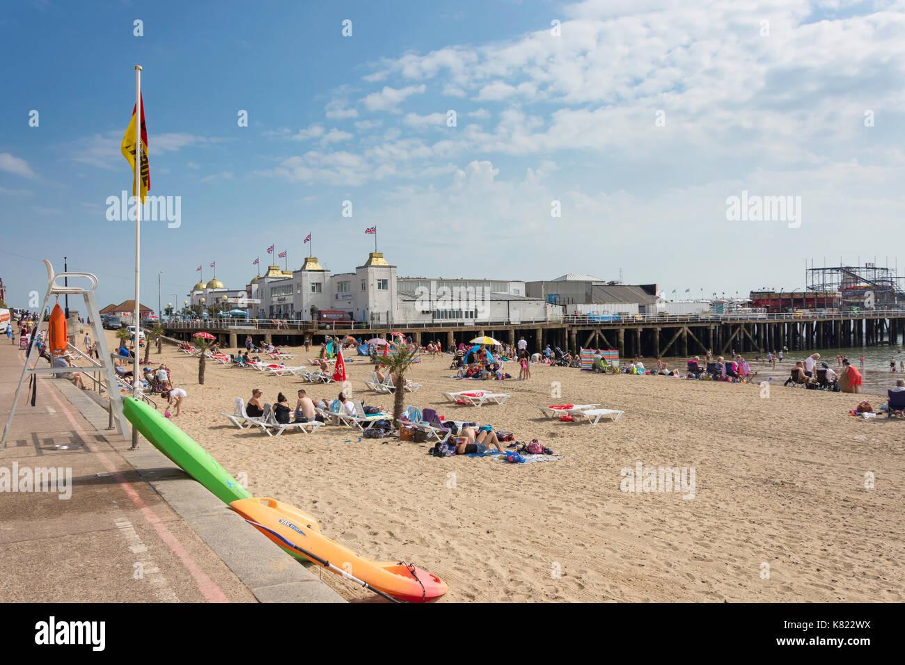 Clacton Pier and beach, Clacton-on-Sea, Essex, England, United Kingdom - Stock Image