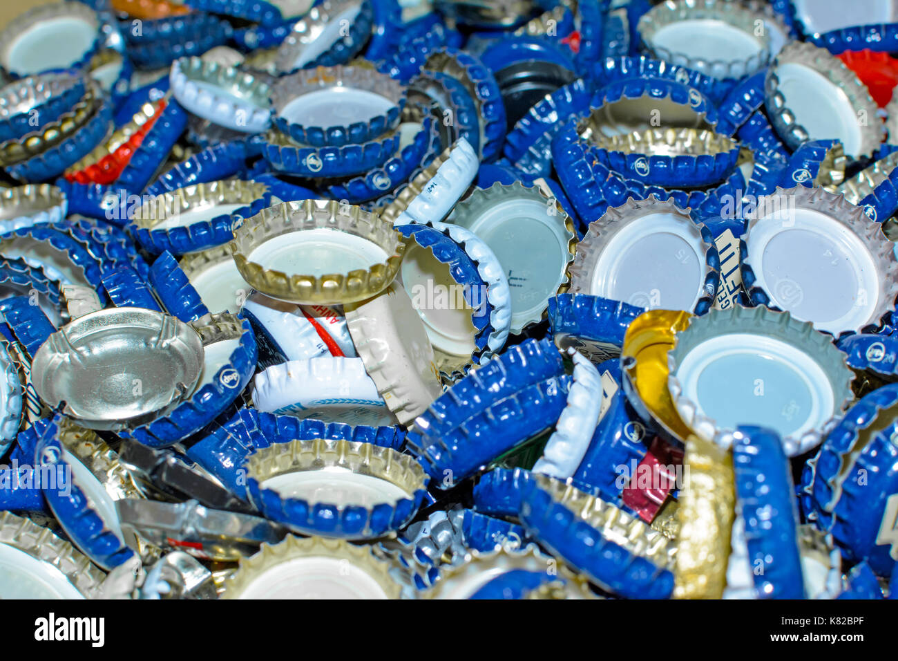 collection of metal bottle caps - Stock Image