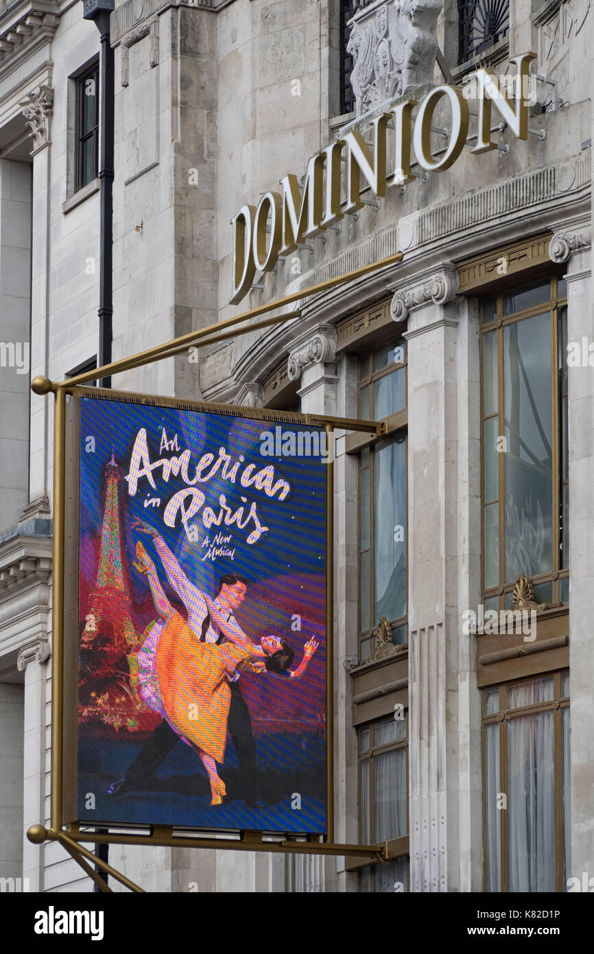 DOMINION THEATRE, LONDON:  Advertising banner advertising An American In Paris show running at the Theatre in September 2017 - Stock Image