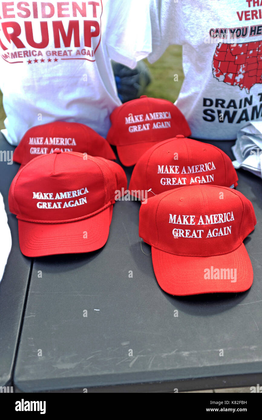 Souvenirs supporting President Trump on-sale at a post-election political rally in Youngstown, Ohio, USA. - Stock Image