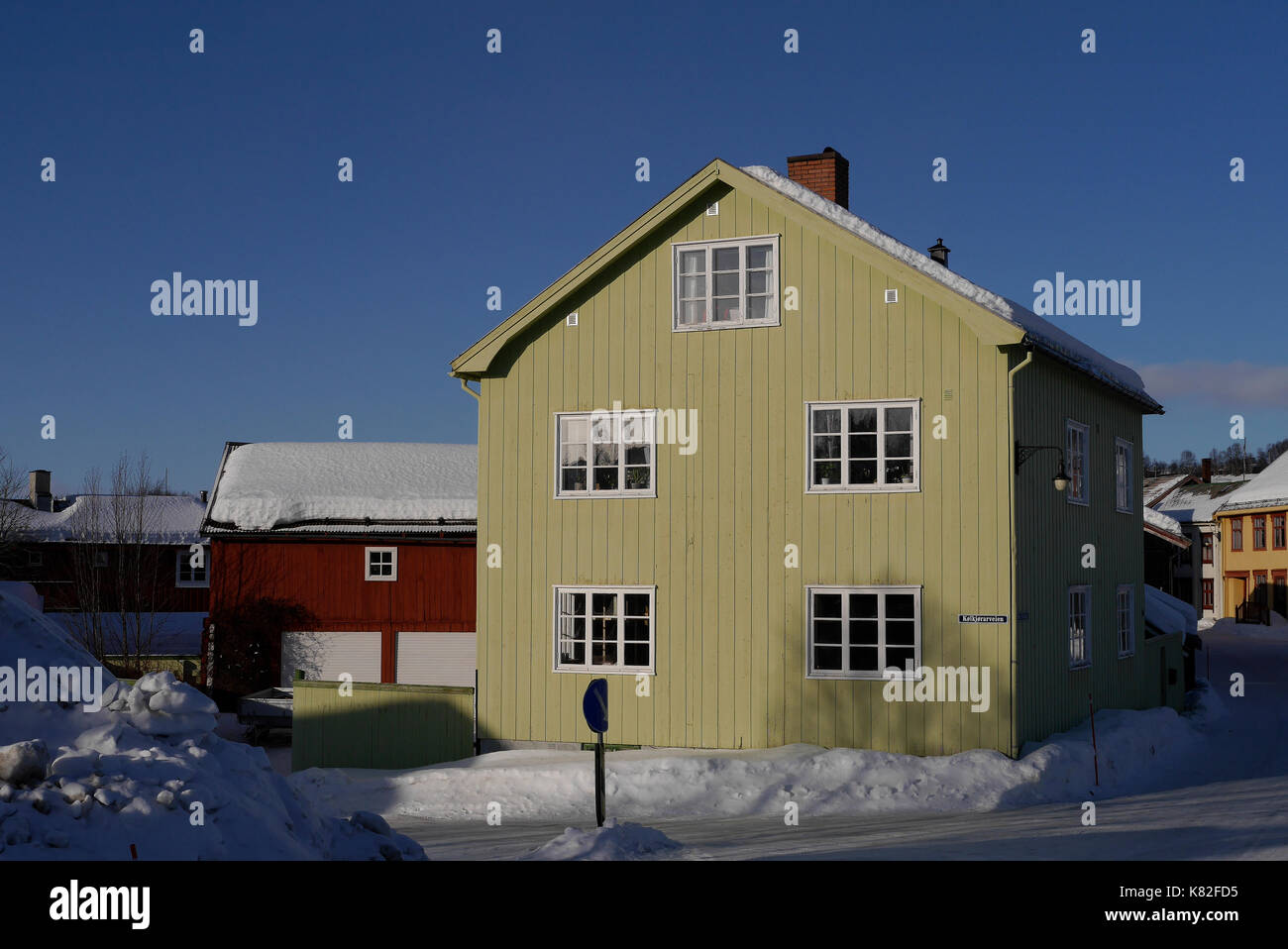 Old, historic part of the city of Röros in Norway. - Stock Image